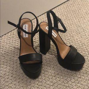 Steve Madden Glitter Heels in Black Leather